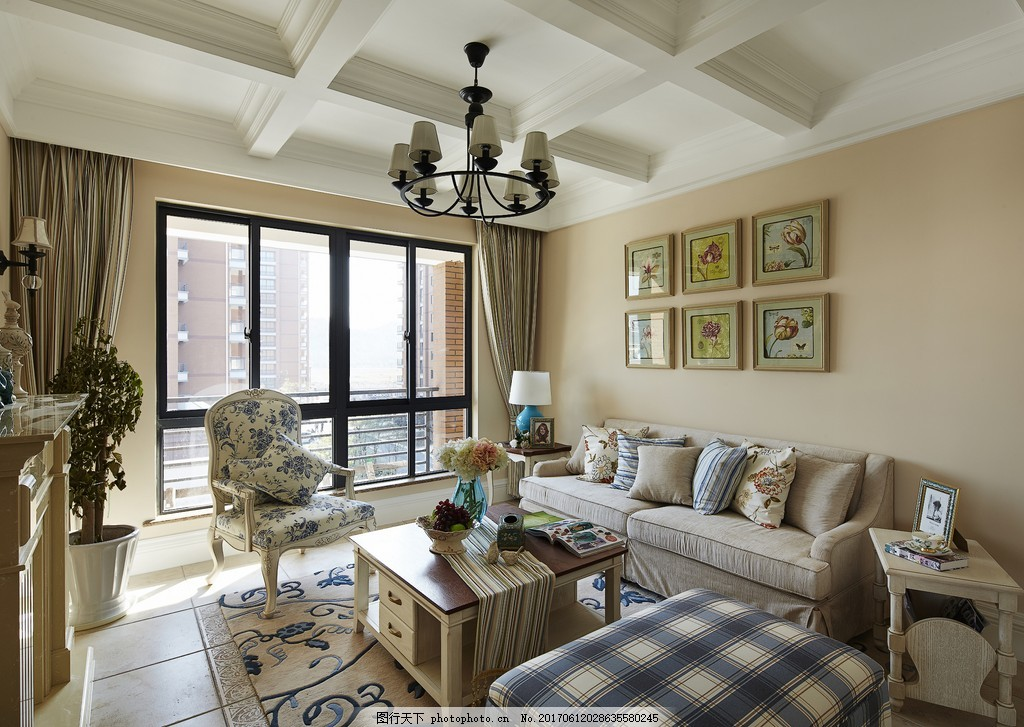 美式簡約客廳裝修效果圖 室內設計 家裝效果圖 美式裝修效果圖 時尚
