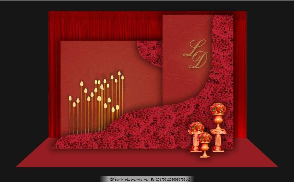 欧式红金色婚礼迎宾区效果图 欧式 红金 花墙 大红色 迎宾区