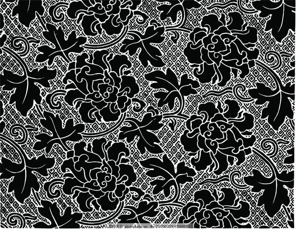 黑色花纹布艺壁纸 中式花纹背景 壁纸素材 无缝壁纸素材 欧式花纹