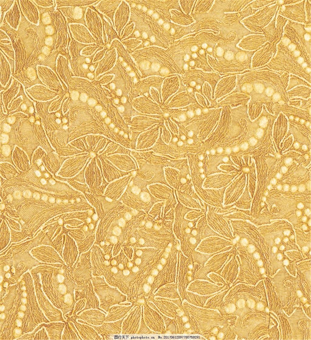 黄色花纹布艺壁纸 中式花纹背景 壁纸素材 无缝壁纸素材 欧式花纹