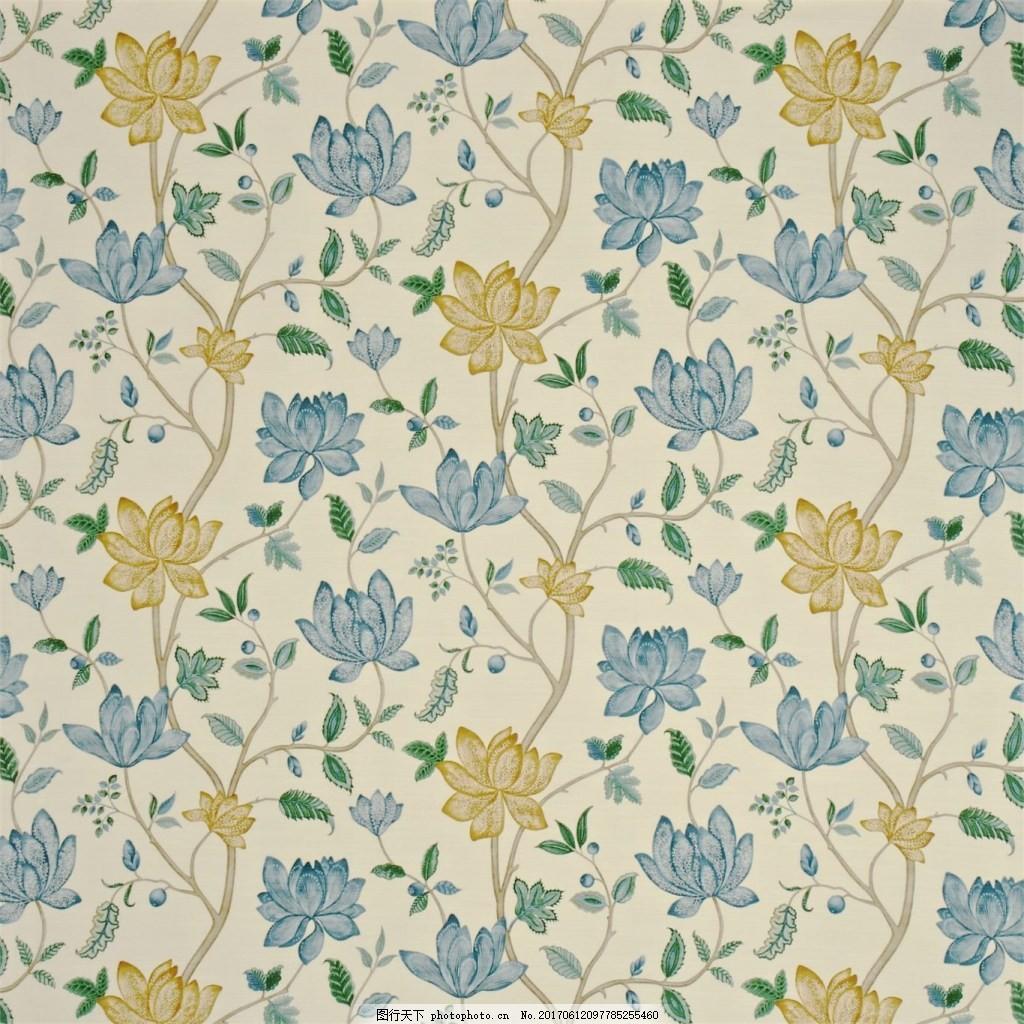 无缝壁纸 欧式花纹 装饰素材 装饰设计 壁纸图片下载  蓝色 花朵 布艺
