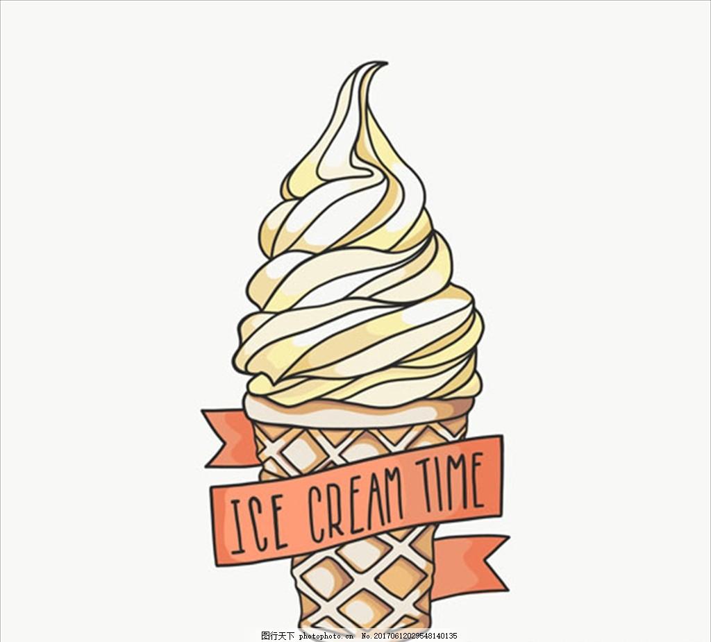 手绘丝带蛋筒冰淇淋插图