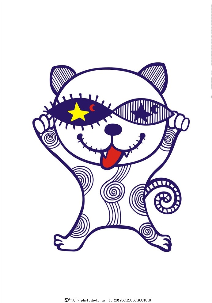 手绘卡通猫矢量图下载