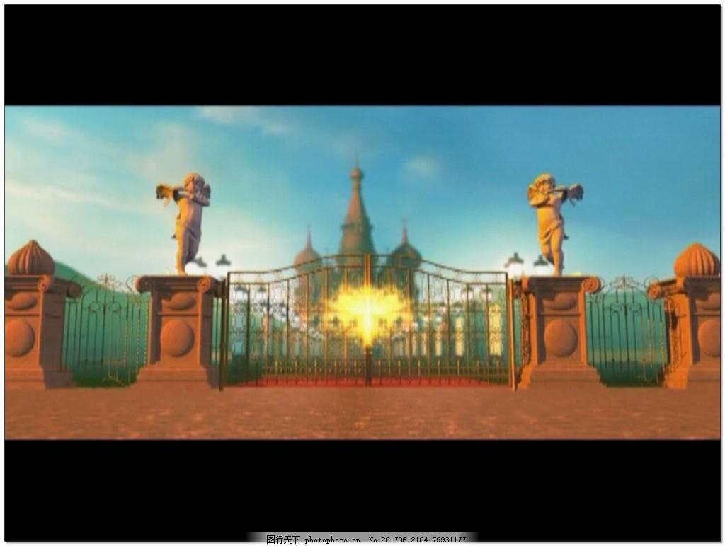 婚礼城堡丘比特影视片头视频素材 欧式 爱心 创意 粒子光效 大门