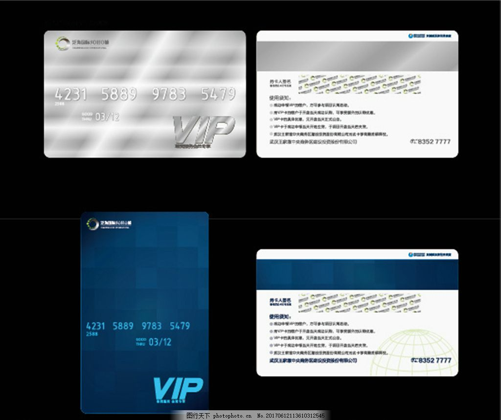 VIP会员卡 卡片 蓝色 银色 银行卡 房地产 广告设计 名片卡片