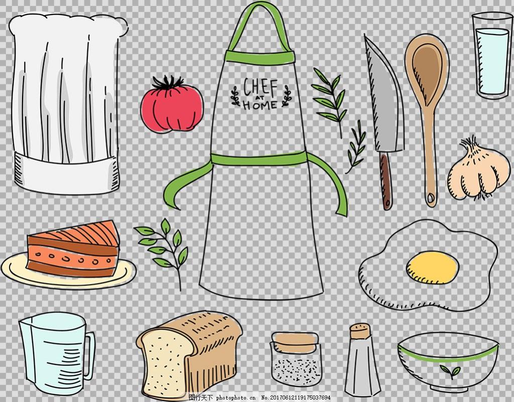 线描风格厨房用品免抠png透明图层素材 餐具图形 厨房用具 西式餐具