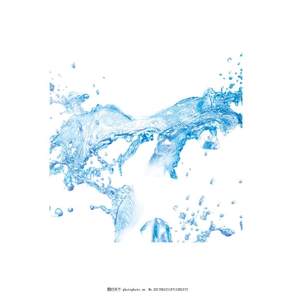 清新水珠元素 手绘 蓝色水珠 透明水滴 清新 清洁 png 素材 png