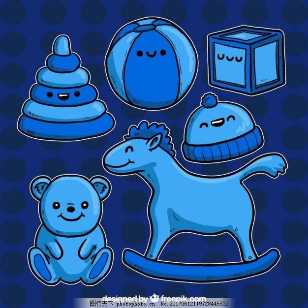 手绘蓝色玩具 可爱 儿童 熊 游戏 绘画 立方体 球 泰迪熊 儿童玩具