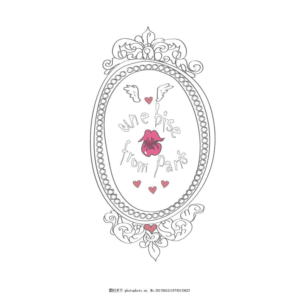 手绘黑色花纹边框椭圆标签元素 手绘 椭圆 标签 花纹 边框 花朵 元素