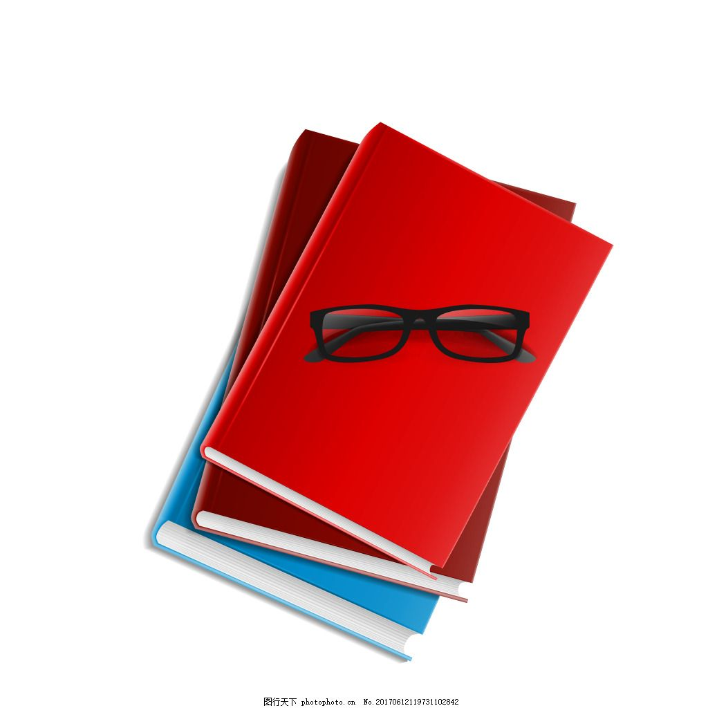 手绘眼镜书本元素 学习 知识 彩色 矢量