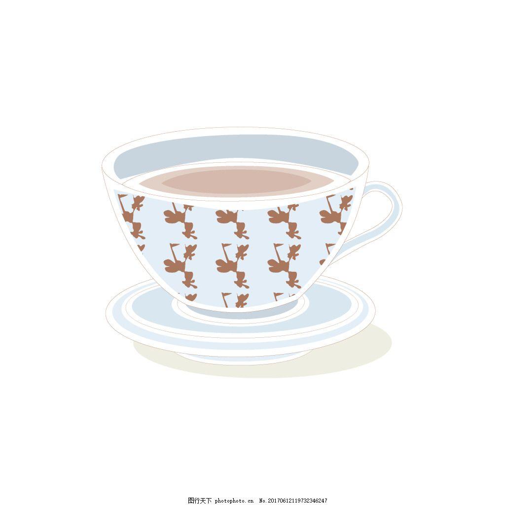 手绘茶杯矢量元素