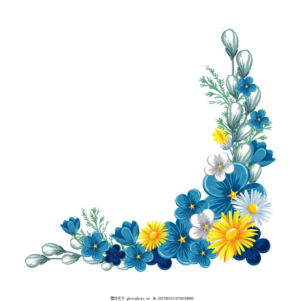 清新黄色花朵花藤元素 手绘 清新 花藤 彩色 花朵 元 素