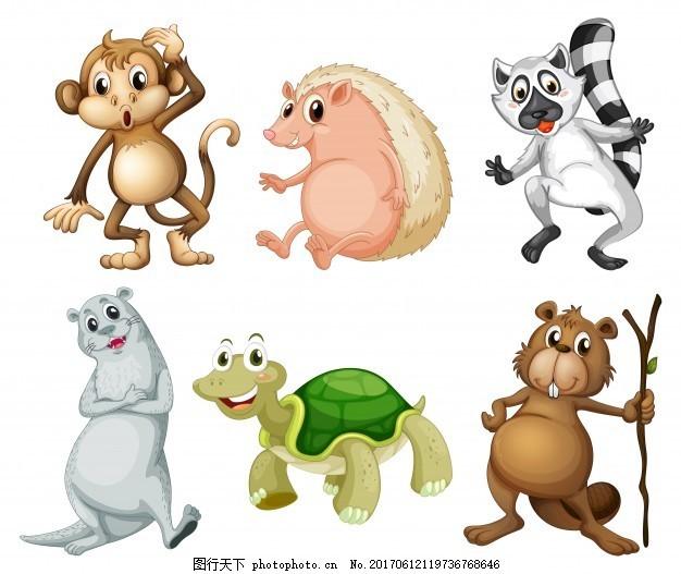 白色背景下六种野生动物的插图 森林 艺术 绘画 不同 种类