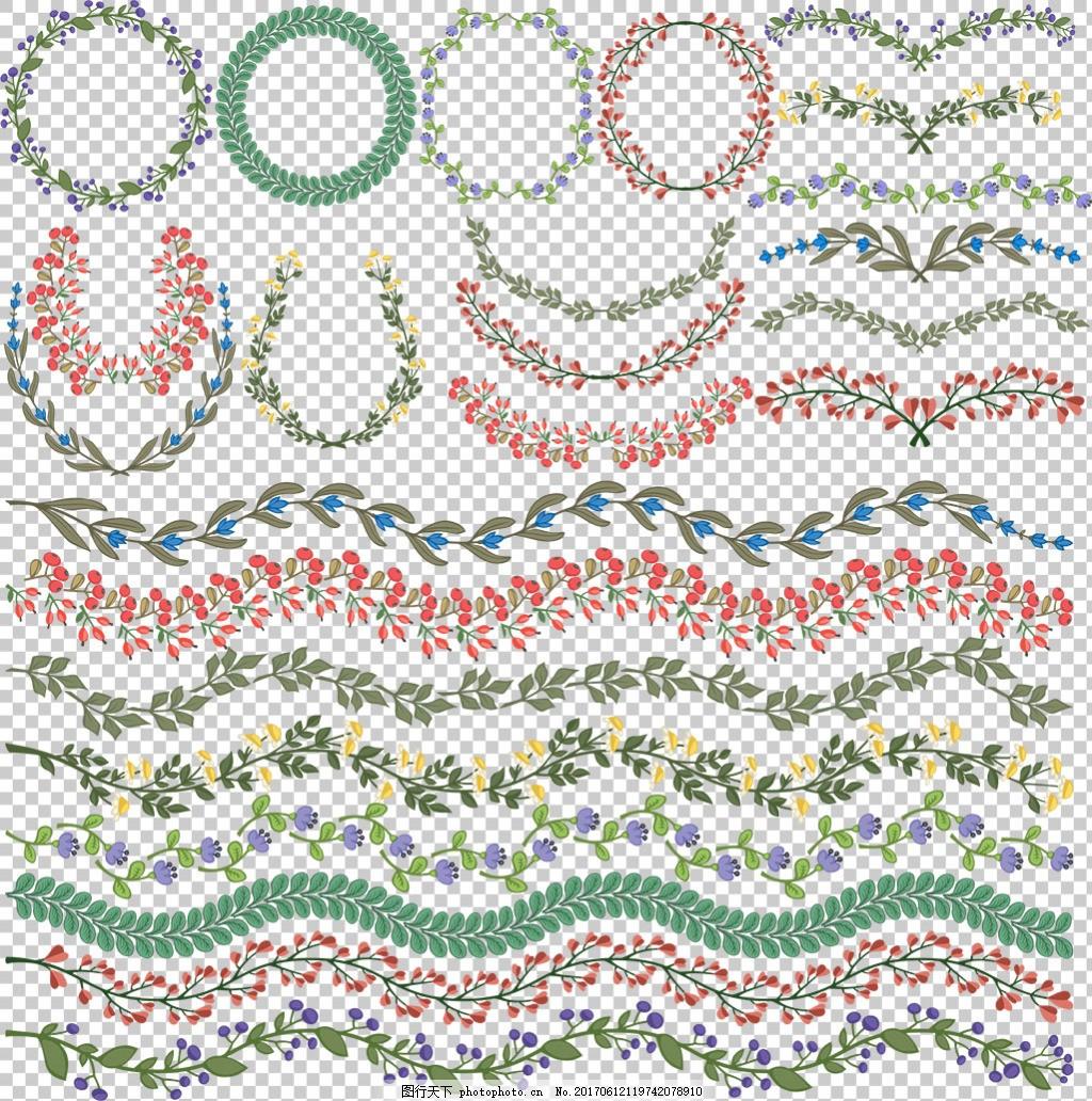 边框花卉分隔符免抠png透明图层素材 花纹边框 花纹素材 欧式花纹元素