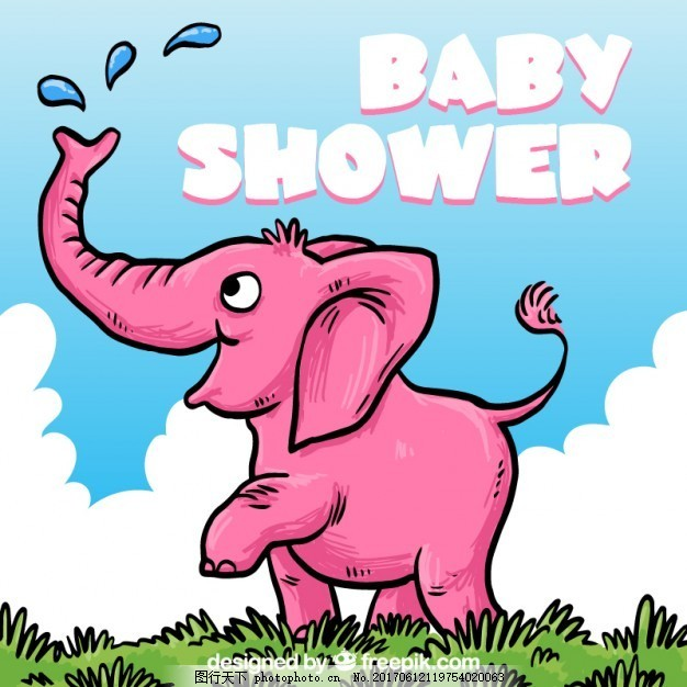 婴儿洗澡卡与手绘粉红色大象