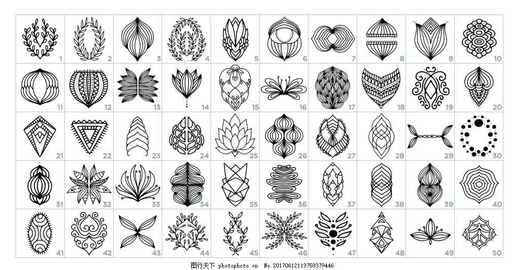 黑白手绘线条植物花朵装饰素材 欧式 多肉 卡通 插画 树叶 夏天