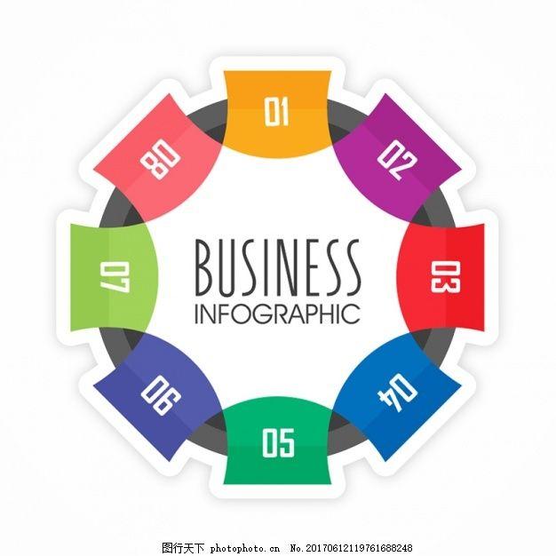 八丰富多彩的选择圆形图表模板 业务 营销 时间 颜色 图形 色彩鲜艳