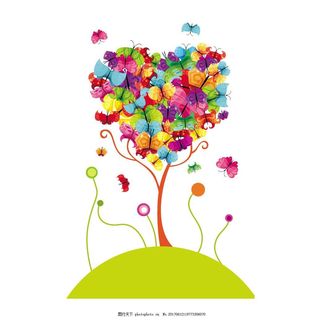 手绘彩色心形元素 水墨 卡通 绿色 山坡 大树 蝴蝶