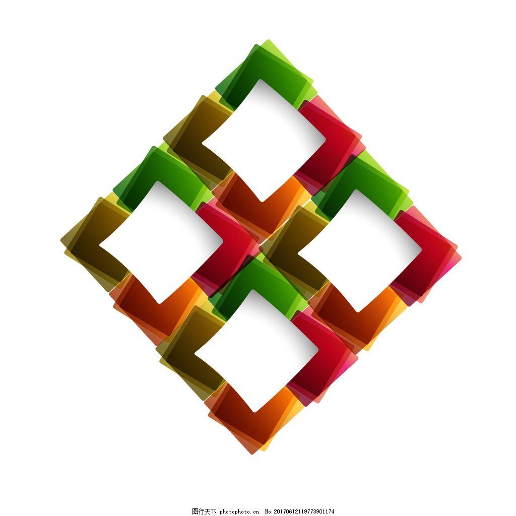 手绘彩色几何元素 方形 渐变 矢量