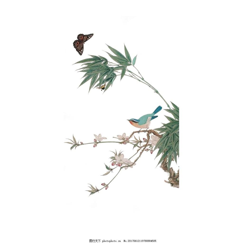 手绘小鸟树枝元素