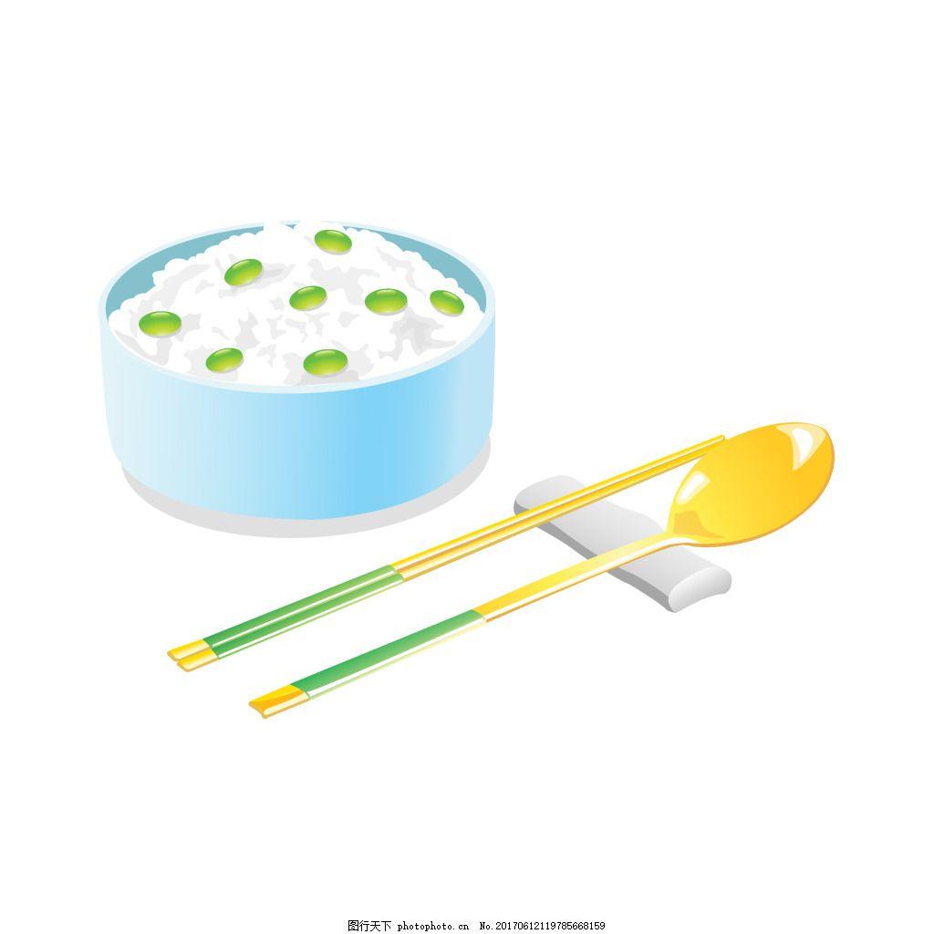 手绘午餐碗筷元素
