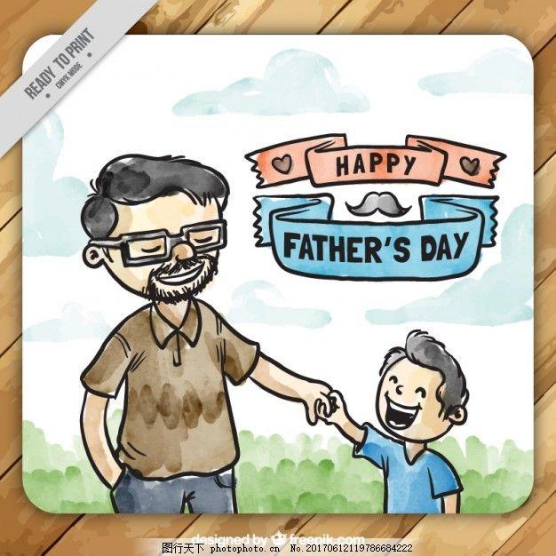 家庭 手绘 可爱 庆祝 快乐 绘画 父亲 父亲节 快乐的家庭 贺卡 爸爸