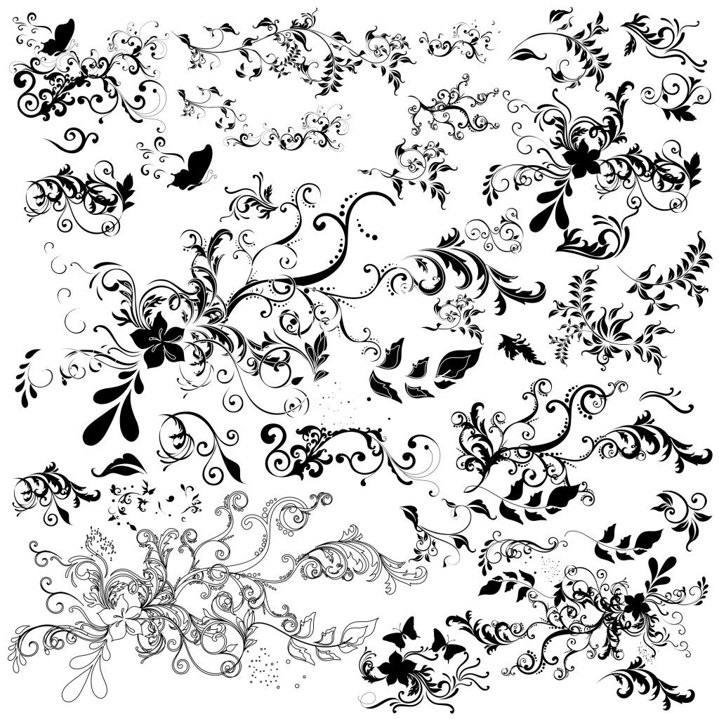 花边 黑白 花纹 边框 树枝 花朵 矢量 设计 素材 欧式 枝条