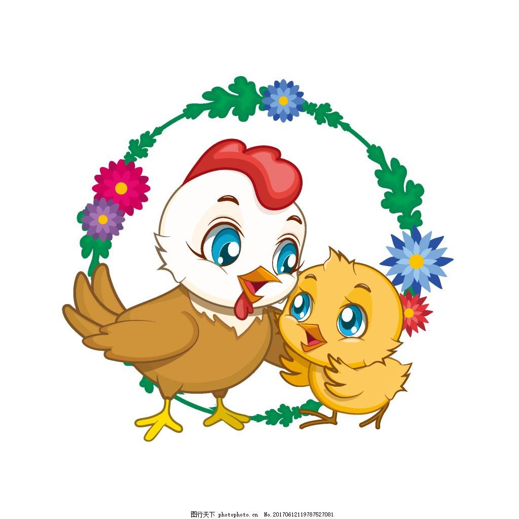 手绘可爱小鸡元素 手绘 卡通 矢量 花环 可爱 小鸡