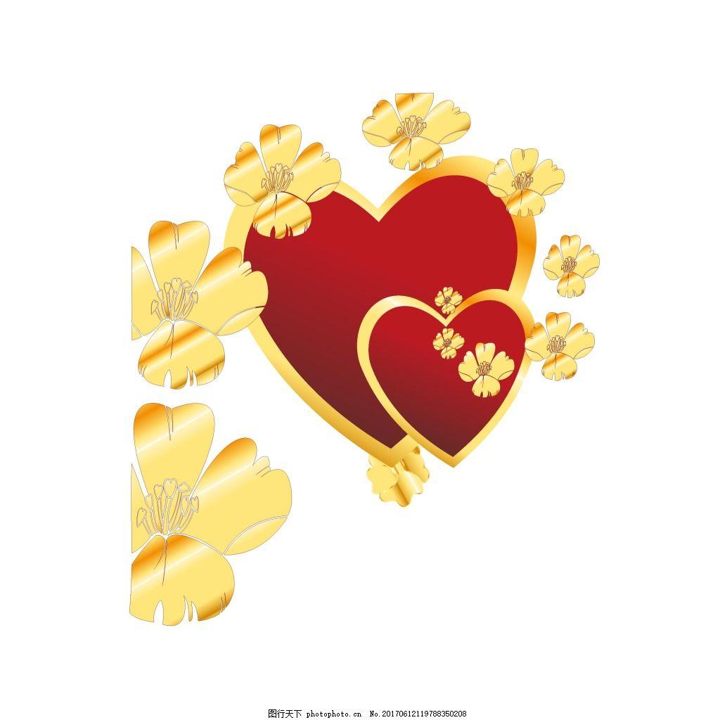 浪漫红心金边元素 手绘 红色 渐变 心形 金色 花朵 质感