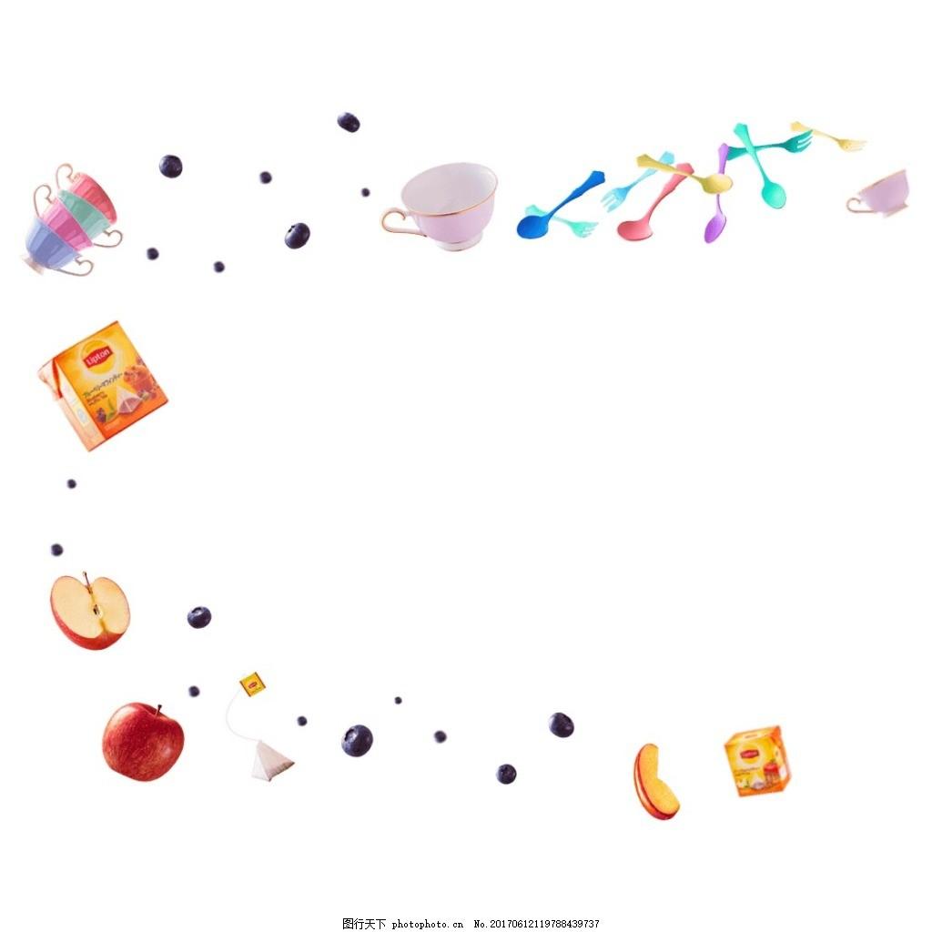 水果碗盘元素 手绘 书本 水果 碗盘 勺子 图标 png      png