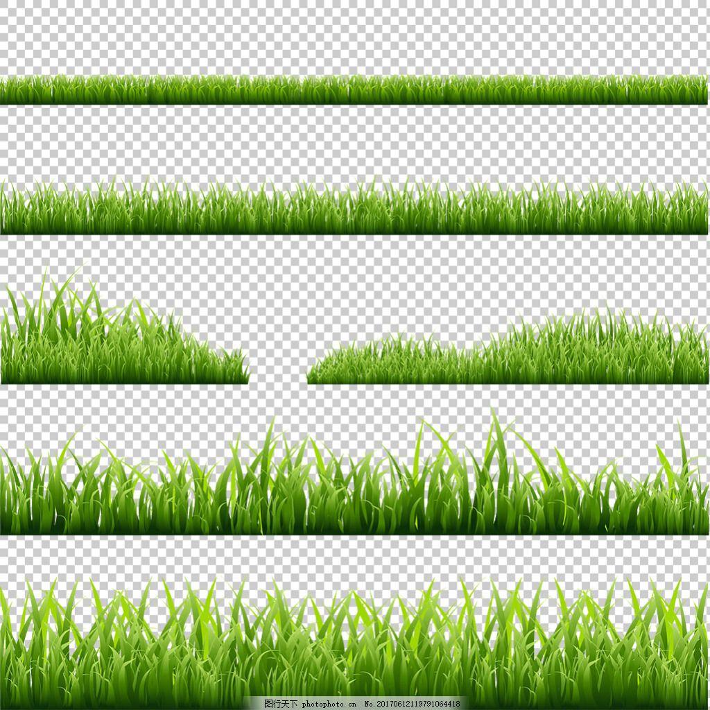 绿色草地花边免抠png透明图层素材 绿草边框 鲜花 花草 蝴蝶