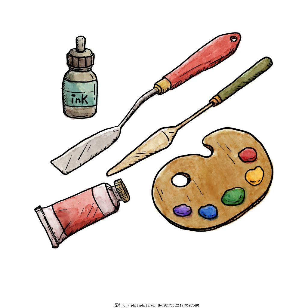 手绘画板颜料元素