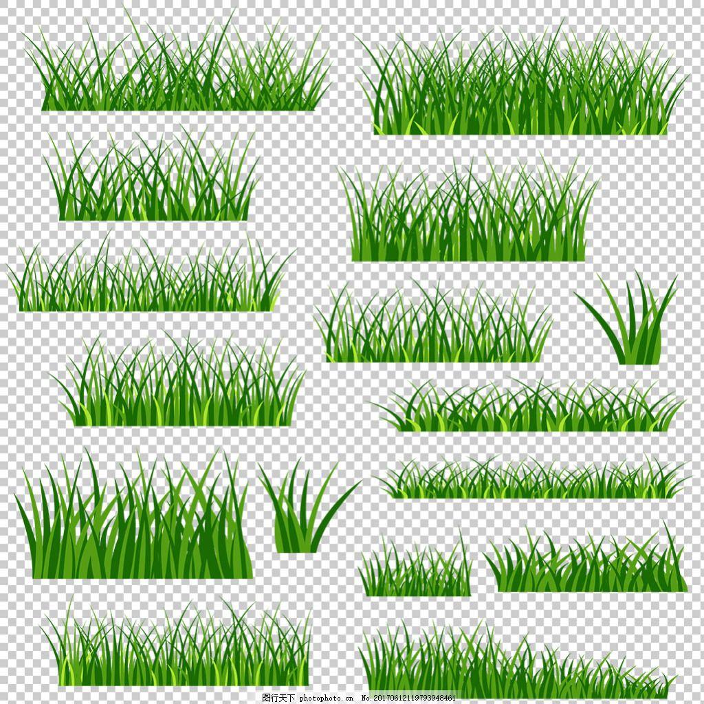 绿色草地装饰图案免抠png透明图层素材 绿草边框 鲜花 花草 蝴蝶