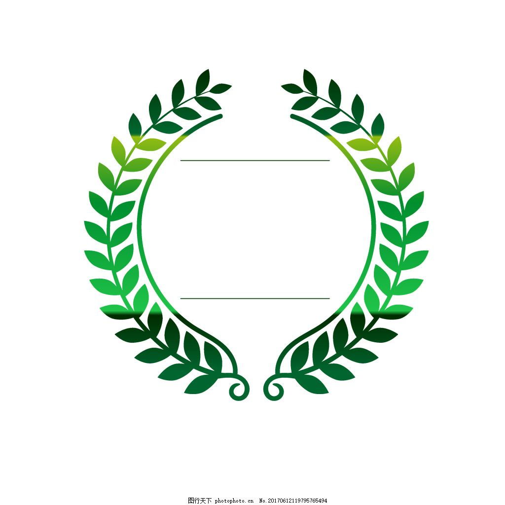 手绘绿叶图标元素 绿色 渐变 树叶 藤叶 圆形