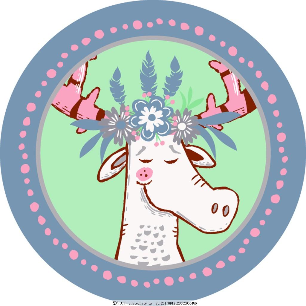 圆形卡通小鹿图案矢量设计vi花型 通话 图标 手绘 动物 手账