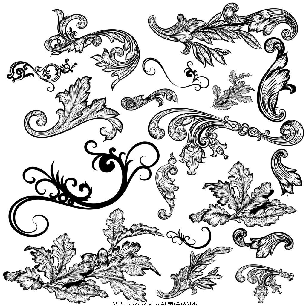 花纹分割线矢量 花纹 边框 树枝 花朵 矢量 设计 素材 欧式 枝条 黑白