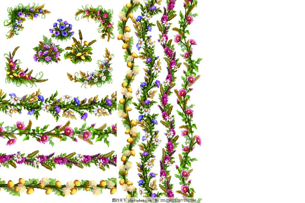 边框 花藤卡通 插画 装饰 树叶 夏天 春天 叶子 植物 矢量 小清新