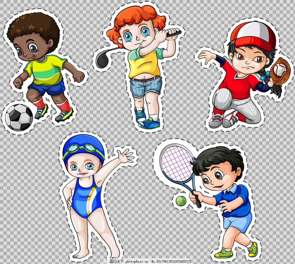 学生小孩不同运动项目免抠png透明素材