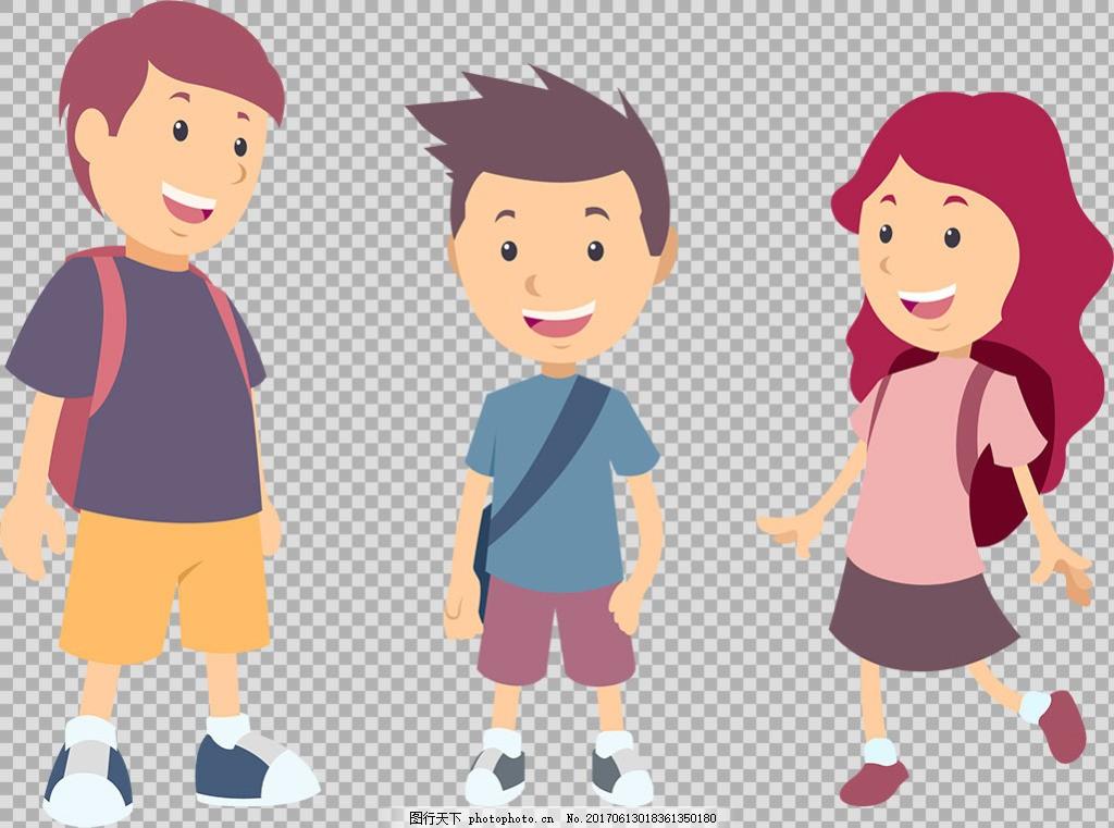 背书包上学的学生免抠png透明图层素材 小孩子 男孩 可爱儿童 玩耍 小