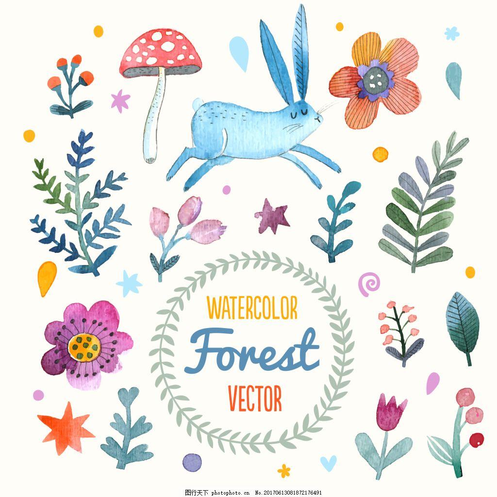 手绘卡通动物植物插画 森系动物 森系婚礼 花卉 碎花 鹿 狮子
