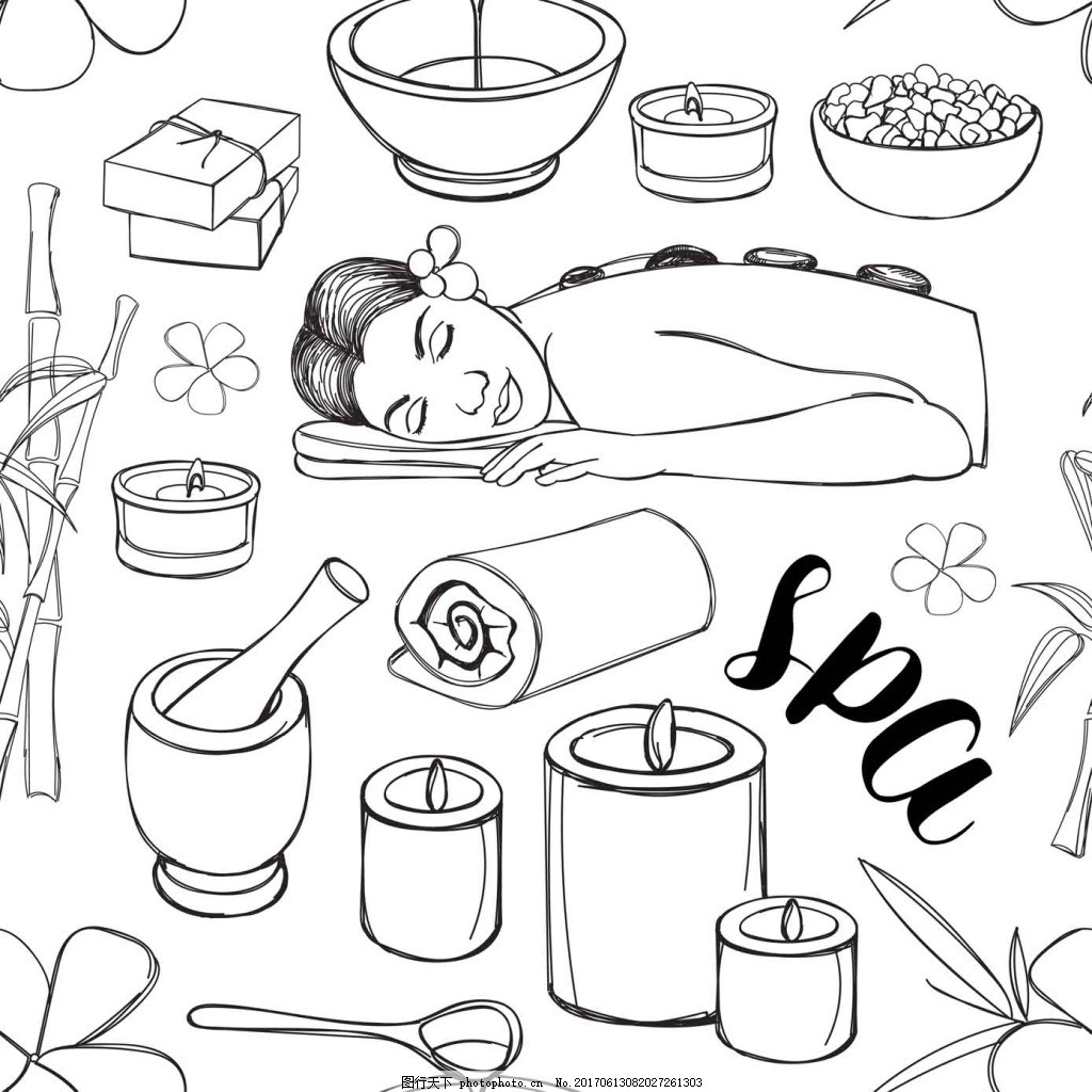 黑白手绘spa用品 时尚 美容 线条 毛巾 蜡烛 精油 海盐