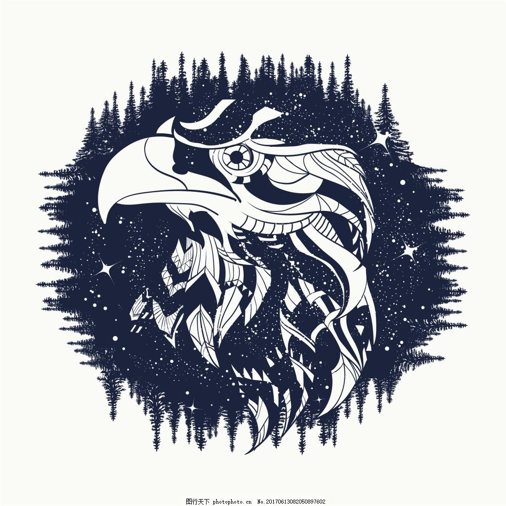 树林纹身图案创意动物鹰眼矢量 魔法 铅笔画 抽象 艺术 插画 剪影