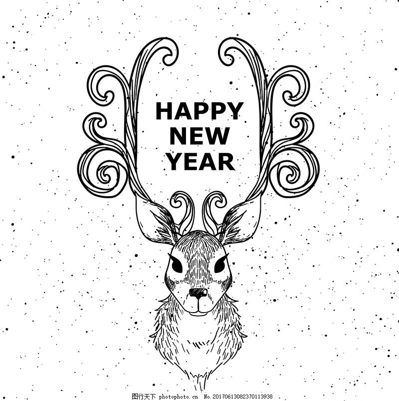 手绘矢量素描驯鹿素材设计 矢量驯鹿 鹿角 动物 手绘动物 动物图案