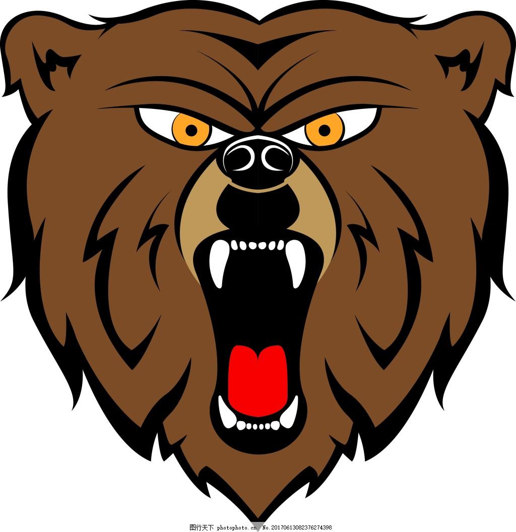 卡通熊头印花图案 熊头动物图案 动物印花 花纹图案 花卉图案
