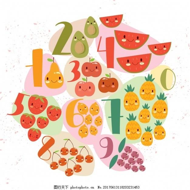 水果与数字设计 背景 食物 学校 孩子 设计 儿童 夏季 水果 墙纸 数字