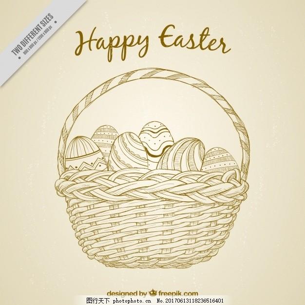 旧货篮子背景与手绘复活节彩蛋 古董 手工 春季 庆典 假日 宗教