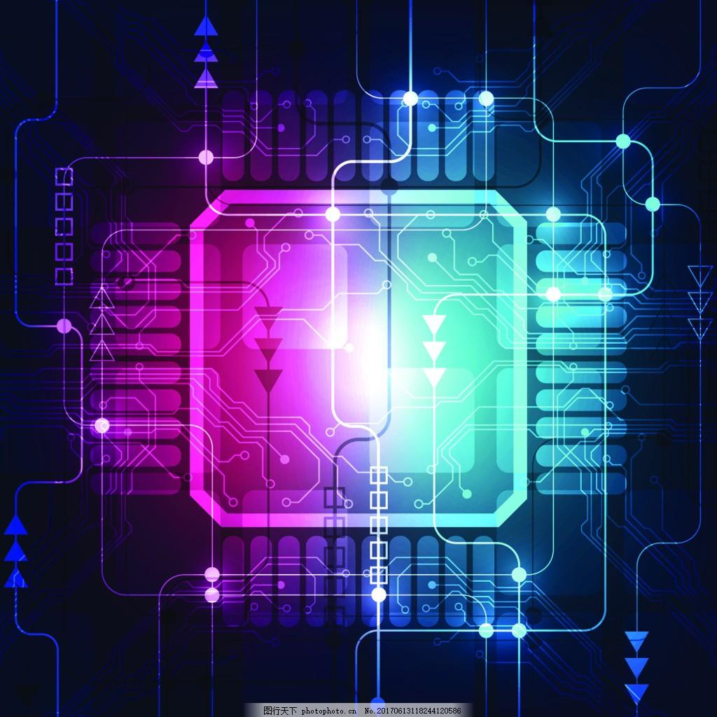 发光紫色cpu电路板ppt背景矢量素材