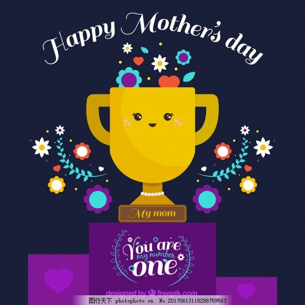 母亲节背景与奖品和装饰鲜花