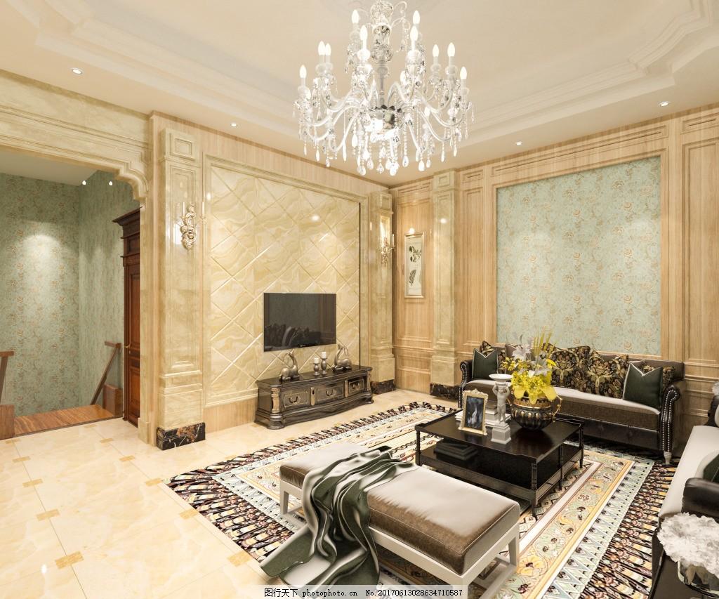 大理石背景墙欧式客厅效果图