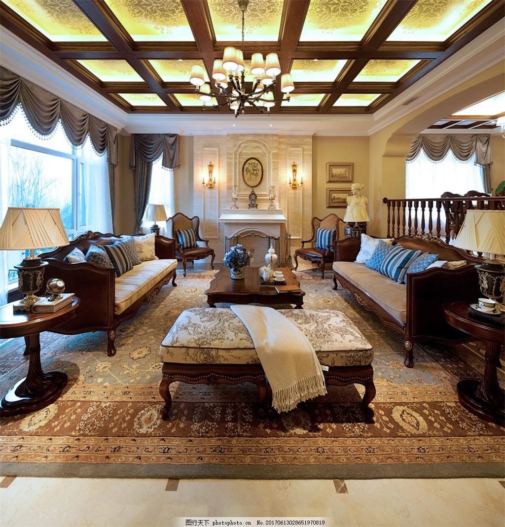 美式别墅客厅装修效果图 室内装修效果图图片下载 jpg 时尚 奢华 环境